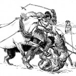 'Weary Willie' attacked by sledge dogs. Patricia Wright illustration